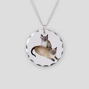 Siamese Sister Kittens Necklace Circle Charm