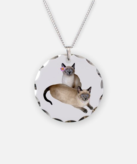 Siamese Sister Kittens Necklace