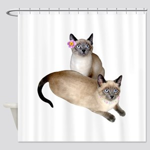 Siamese Sister Kittens Shower Curtain