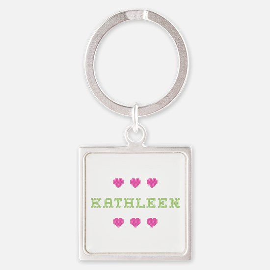 Kathleen Cross Stitch Square Keychain