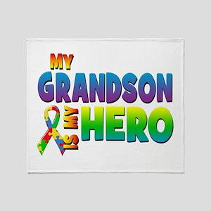 My Grandson Is My Hero Throw Blanket