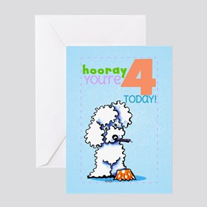 White poodle birthday greeting cards cafepress kids birthday 4 poodle greeting card bookmarktalkfo Gallery