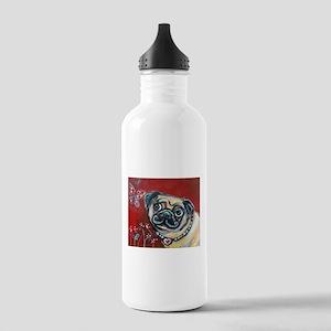 Pug eyes butterfly Water Bottle
