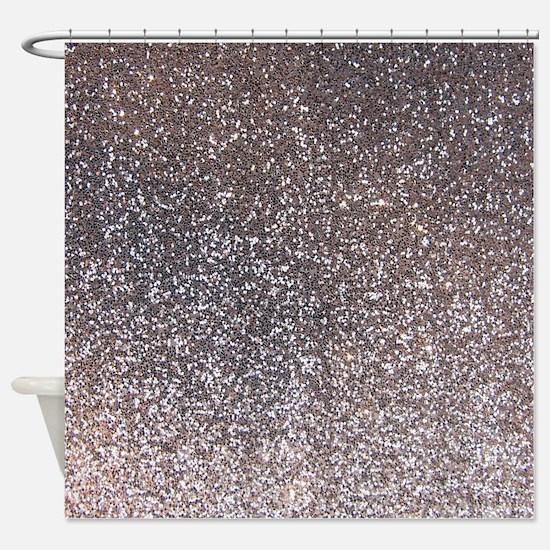 Faux Silver glitter texture shower curtain (matte)