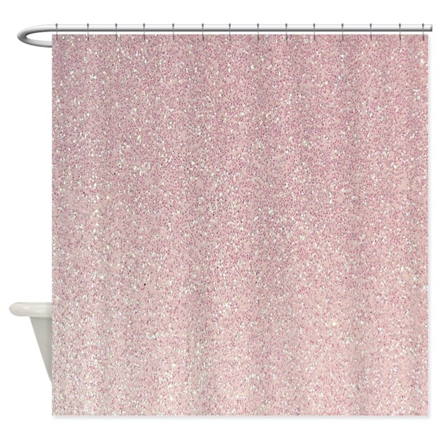 Light Pink Faux Glitter Texture Shower Curtain By InspirationzStore