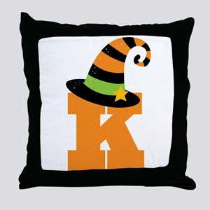 Halloween Letter K Witch Monogram Throw Pillow
