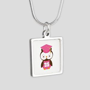 2025 Owl Graduate Class Silver Square Necklace