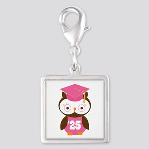 2025 Owl Graduate Class Silver Square Charm