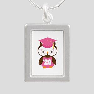 2028 Owl Graduate Class Silver Portrait Necklace