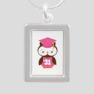 2031 Owl Graduate Class Silver Portrait Necklace