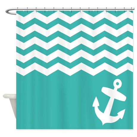 Teal Nautical chevron anchor Shower Curtain by InspirationzStore