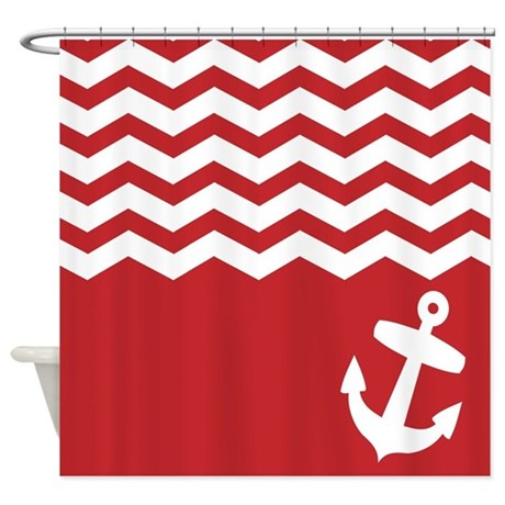 Nautical Red chevron anchor Shower Curtain by InspirationzStore