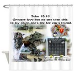 1-25 fallen 15:13 Shower Curtain