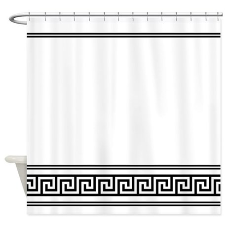Art Deco Geometric Black And White Shower Curtain By Mainstreethomewares
