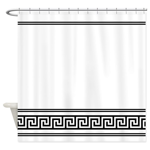deco geometric black and white shower curtain by 22714