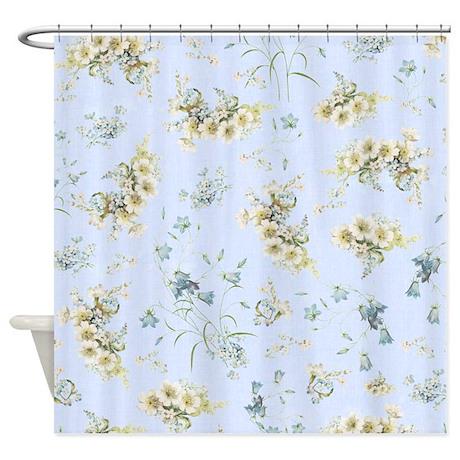 vintage light blue floral shower curtain by inspirationzstore. Black Bedroom Furniture Sets. Home Design Ideas