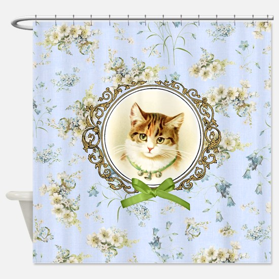 Vintage kitten cat Shower Curtain