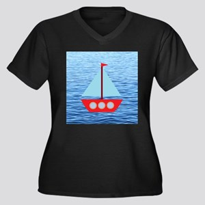 Sailboat in Blue Water Plus Size T-Shirt