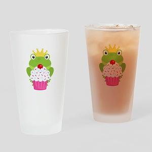 Frog Princess Birthday Cupcake Drinking Glass