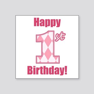 Happy 1st Birthday - Pink Argyle Sticker