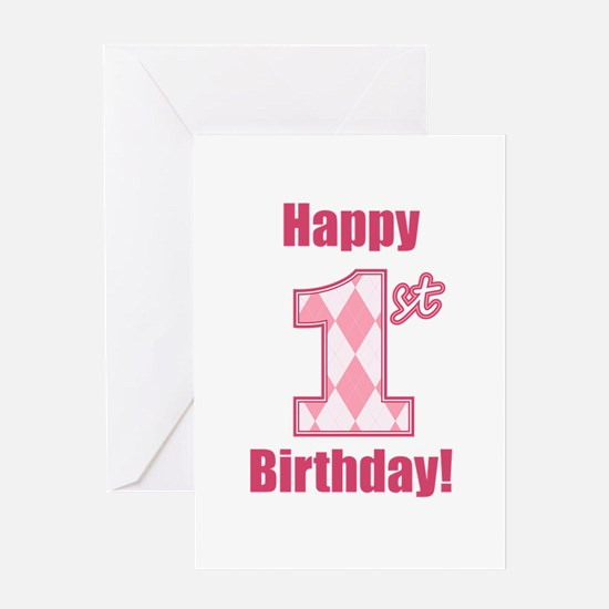 Happy 1st Birthday - Pink Argyle Greeting Card