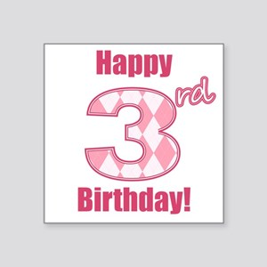 Happy 3rd Birthday - Pink Argyle Sticker