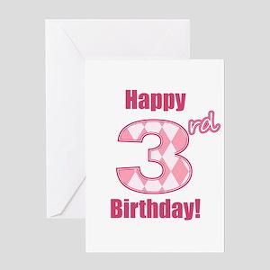 Happy 3rd Birthday - Pink Argyle Greeting Card