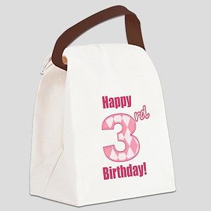 Happy 3rd Birthday - Pink Argyle Canvas Lunch Bag