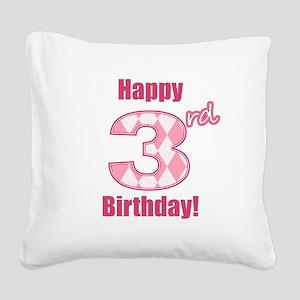 Happy 3rd Birthday - Pink Argyle Square Canvas Pil