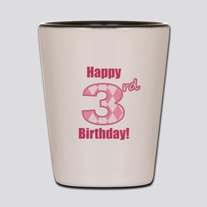 Happy 3rd Birthday - Pink Argyle Shot Glass