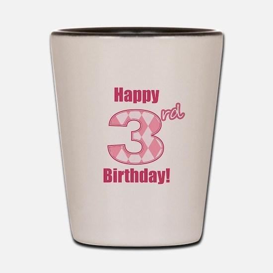 Happy 3rd Birthday - Pink Argyle Shot Glass