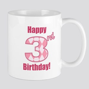 Happy 3rd Birthday - Pink Argyle Mug