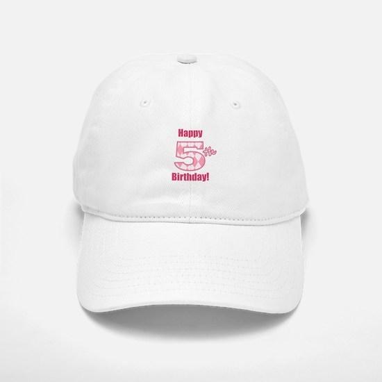 Happy 5th Birthday - Pink Argyle Baseball Baseball Baseball Cap