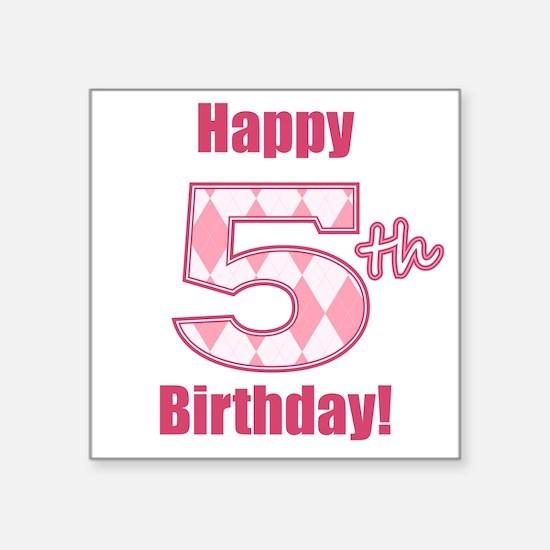 Happy 5th Birthday - Pink Argyle Sticker