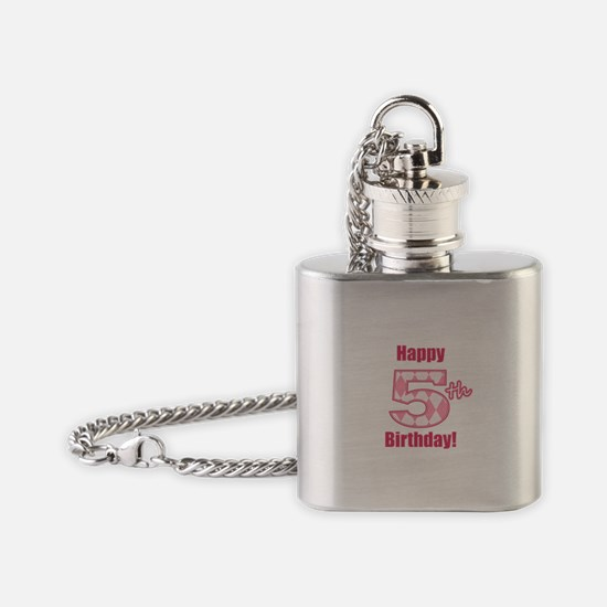 Happy 5th Birthday - Pink Argyle Flask Necklace