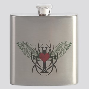 Love Flys into a Heart Flask