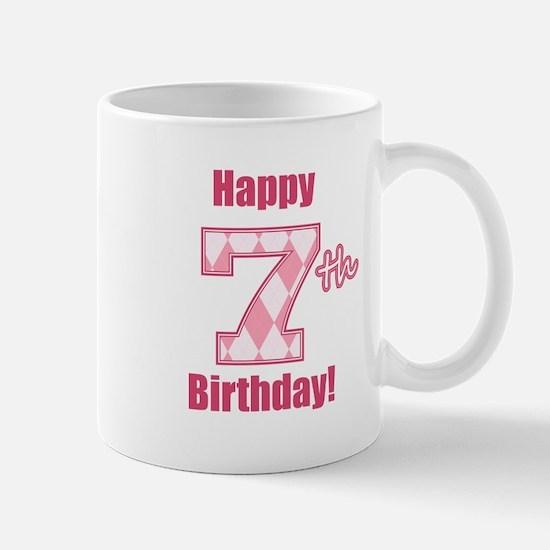 Happy 7th Birthday - Pink Argyle Mug