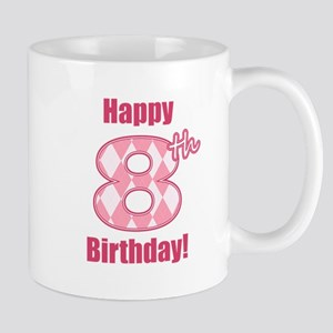 Happy 8th Birthday - Pink Argyle Mug
