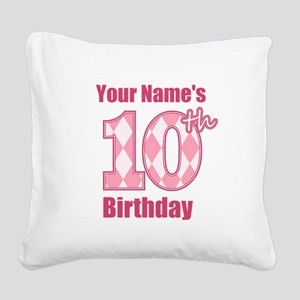 Pink Argyle 10th Birthday - Personalized! Square C