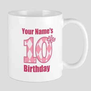 Pink Argyle 10th Birthday - Personalized! Mug