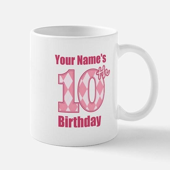 Pink Argyle 10th Birthday - Personalized! Mug