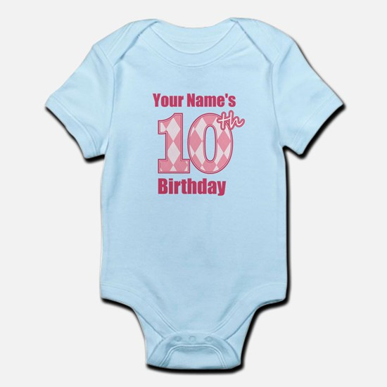 Pink Argyle 10th Birthday - Personalized! Body Sui