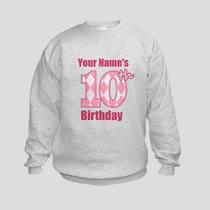 Pink Argyle 10th Birthday - Personalized! Sweatshi