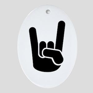 Rock Metal Hand Ornament (Oval)