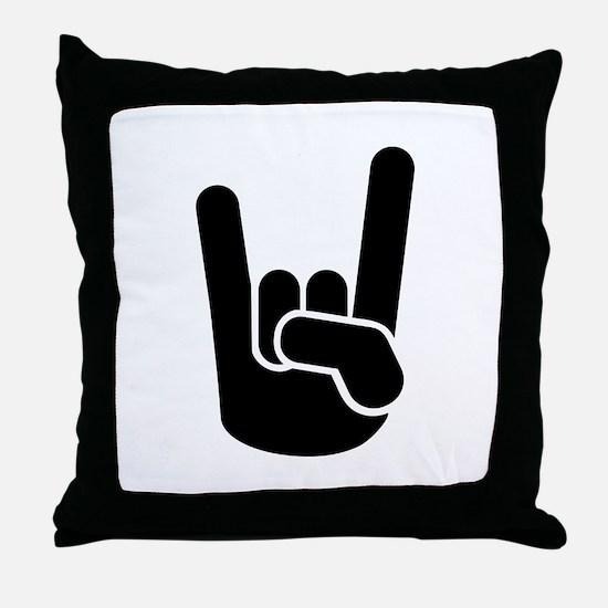 Rock Metal Hand Throw Pillow