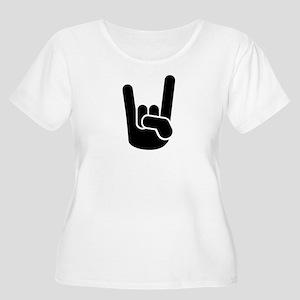 Rock Metal Hand Women's Plus Size Scoop Neck T-Shi