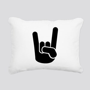 Rock Metal Hand Rectangular Canvas Pillow