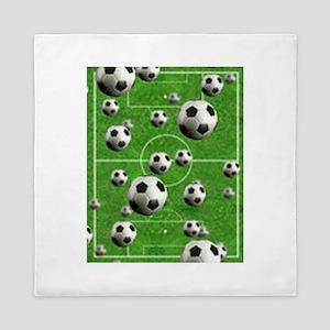 Soccer-Balls-Over-A-Field Queen Duvet