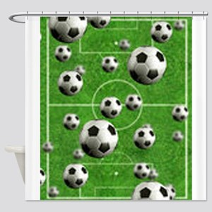 Soccer-Balls-Over-A-Field Shower Curtain