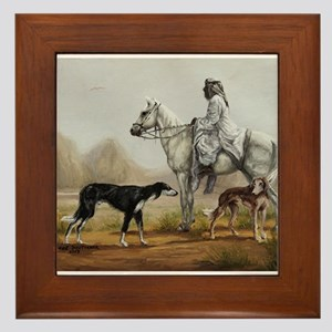 Arabian Bedouin Hunting with Two Salukis Framed Ti